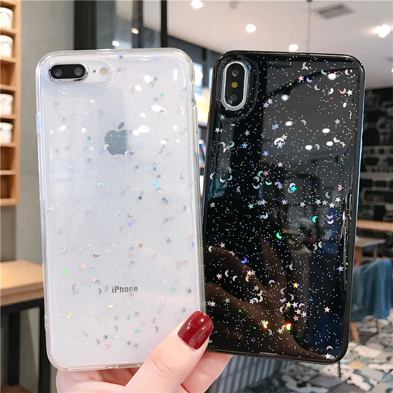 Hab0fd0c3318b4f609a2e7dbd8ae06bddN - GIMFUN Star Bling Glitter Phone Case for Iphone 11 Pro Max Clear Back Love Heart tpu Case Cover for Iphone Xr X 7 6 8 Plus 5s SE