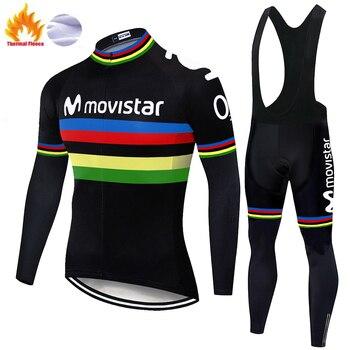 Movistar-Jersey de ciclismo para hombre, uniforme térmico de ciclista con camiseta de...