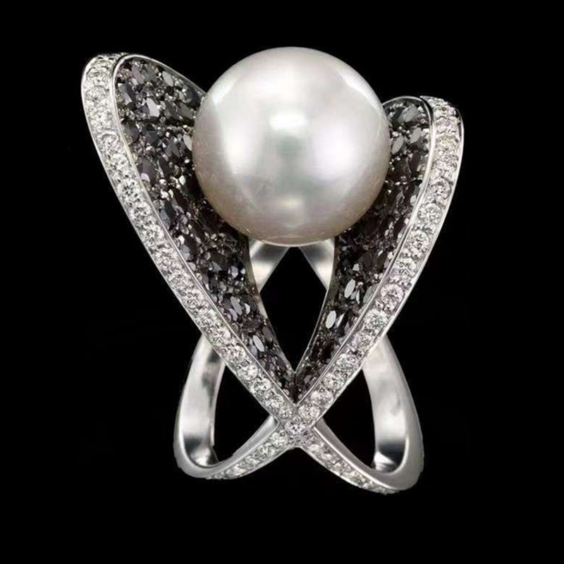 Artificial Pearl Ring Wedding Ring Promise Engagement Rings For Women Female Luxruy Rhinestone Rings