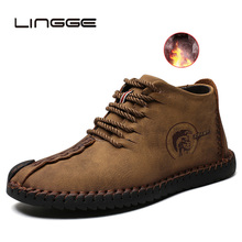 LINGGE Split Leather Men Boots Handmade Ankle Boots Outdoor Men Winter Boots Kee