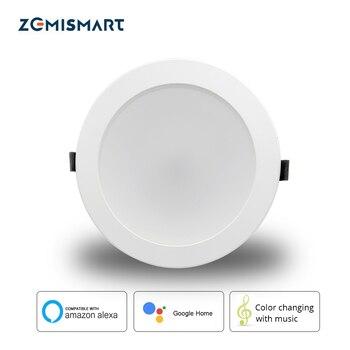 Zemimart 6 pouces 14W WiFi RGBCW Led Downlight plafonnier commande vocale par Alexa Google domotique