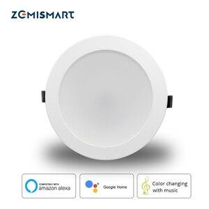 Image 1 - Zemismart luz de techo Led RGBCW, 6 pulgadas, 14W, WiFi, Control por voz, Automatización del hogar, Google Home, Alexa