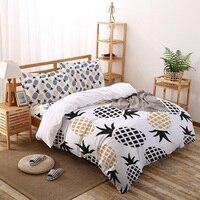 Cartoon ananas bianco nero modello Set biancheria da letto lenzuola Twin Size copripiumino Set per copriletto federa per la casa