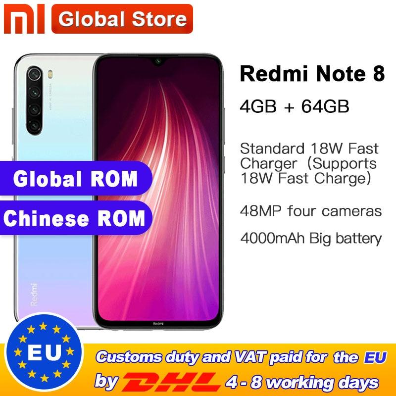 "In Stock Global ROM Xiaomi Redmi Note 8 64GB 4GB Snapdragon 665 Octa Core Smartphone 6.3"" 48MP Quad Rear Camera 4000mAh"