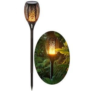 Image 1 - 96 LED s flamme solaire scintillement lampe de jardin torche lumière IP65 projecteurs extérieurs paysage décoration lampe à Led pour les voies de jardin