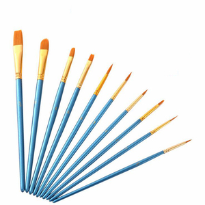 Image 4 - 10 יח\סט ניילון שיער צבע מברשת שונה גדלים שמן צבעי מים ציור אמנות מברשת ציור אספקת חומרים