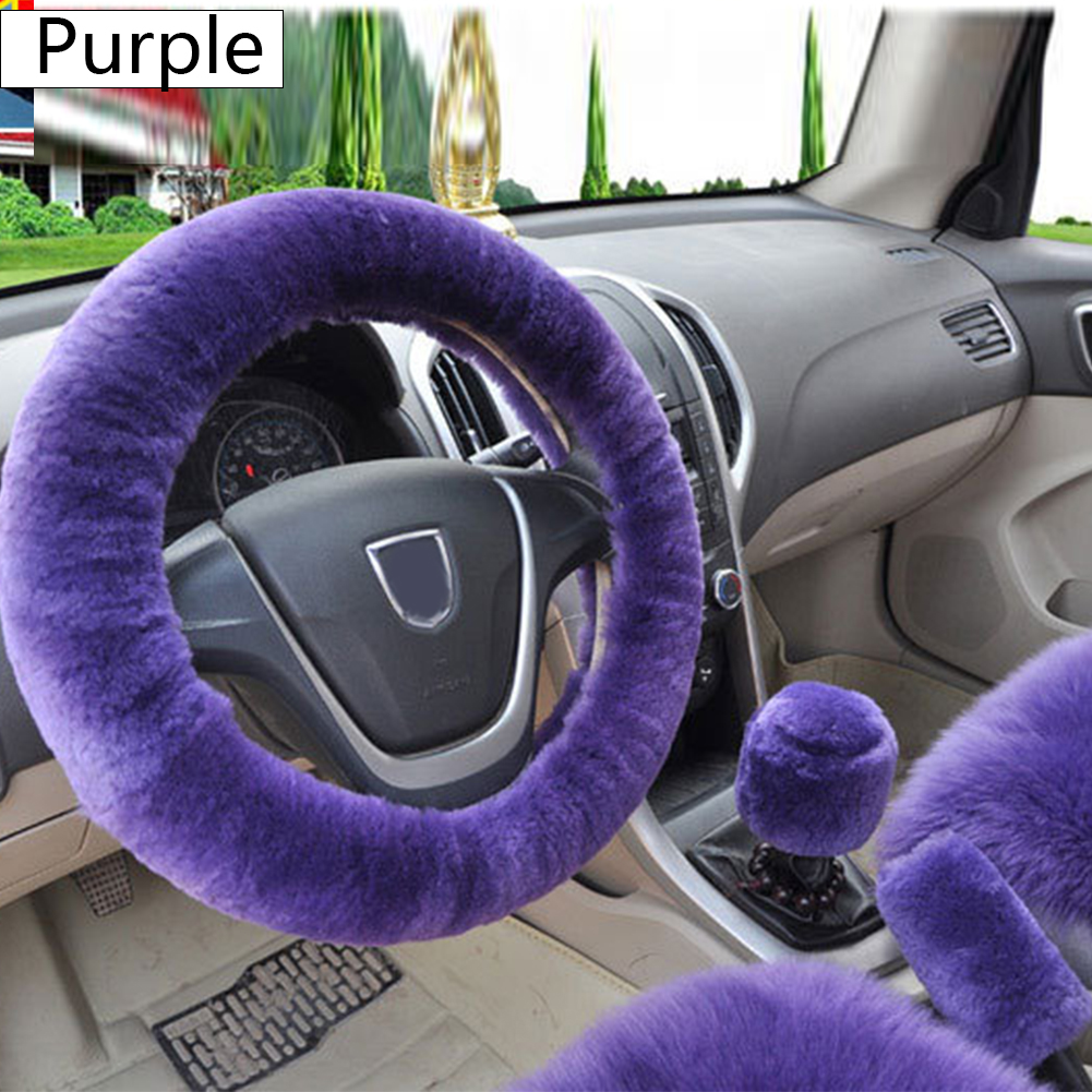 Handbrake-Cover Car-Accessories Steering-Wheel-Cover Universal Winter Shift 3PCS Plush title=