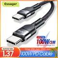 Essager 100 Вт с разъемом USB Type-C USB C кабель USB-C Быстрая зарядка PD Кабель зарядного устройства Шнур для Macbook Samsung Xiaomi Type-C USBC кабель 3 м
