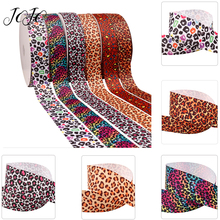 JOJO BOWS 38mm 5y Grosgrain Ribbon Leopard Printed Webbing For Clothing Apparel Sewing DIY Craft Supplies Decoration Materials