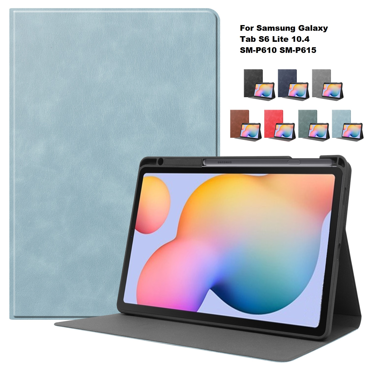 2020 Case For Samsung Galaxy Tab S6 Lite 10.4 Pencil Holder For Samsung SM-P610 P615 PU Leather Stand Cover Tablet Shell