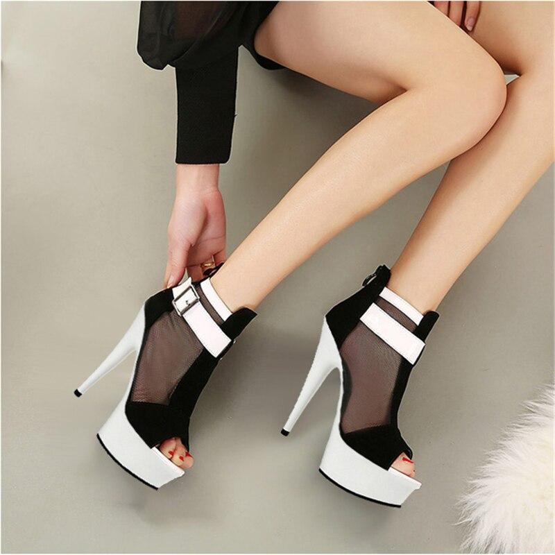 Trendy mesh sexy sandals belt buckle club shoes 15cm/ 17cm high heels - 2