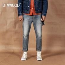 SIWMOOD 2020 봄 신 발목 길이 청바지 남성 긁힌 데님 바지 찢어진 빈티지 씻어 바지 플러스 사이즈 jean hombre 190360