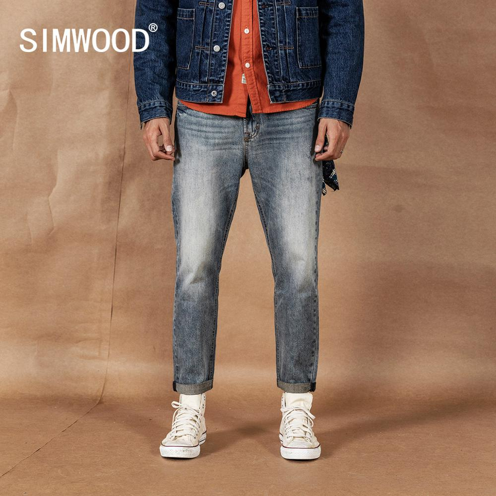 SIWMOOD 2020 Spring New Ankle-length Jeans Men Scratched Denim Trousers Ripped Vintage Washed Pants Plus Size Jean Hombre 190360