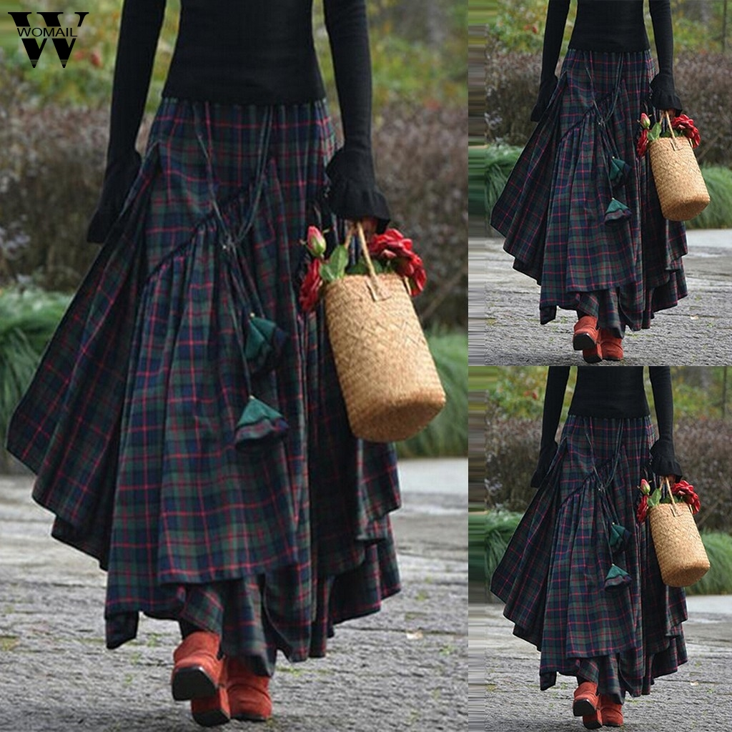 Womail Skirt Women 2020 Summer Boho Plaid Skirt Punk Goth Retro Clubwear Skirts Irregular Casual Faldas Pleated Skirt Plus Size