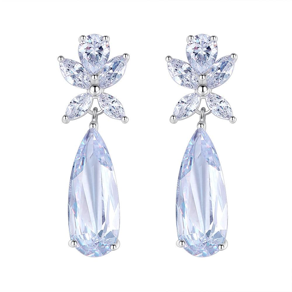 YGU58   925 Sterling Silver Large Water Drop With Zircon Lady Earrings Couple Festival Gift