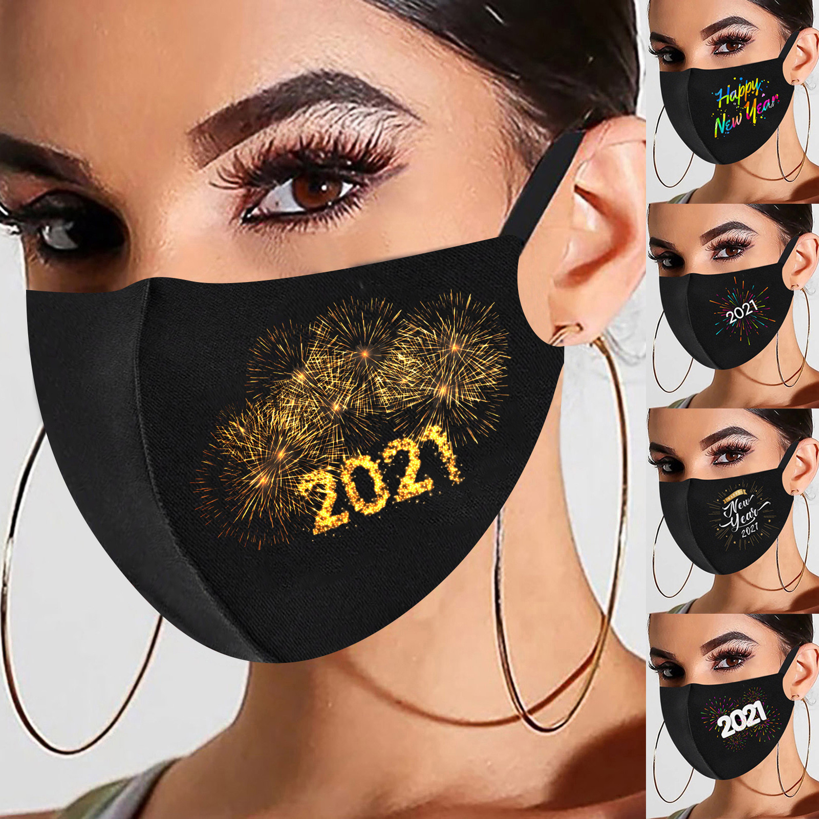 1PC 2021 Happy New Years Adult Breathable Fashion Face Cover Washable Reusable Pollution Cover Face Masks Outdoor Mascarilla 1