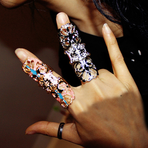 Punk Rock Hollow Flower Armor Knuckle Hinged Long Full Finger Ring Jewelry