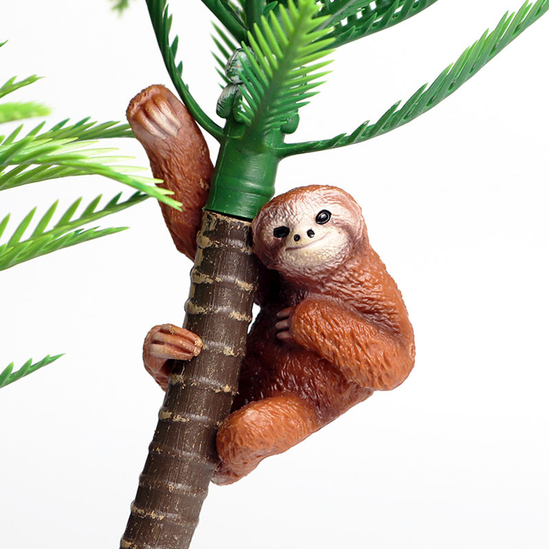 Simulation Sloth Animal Figure Collectible Toys Wild Animal Cognition Action Figures Kids Plastic Cement Toys
