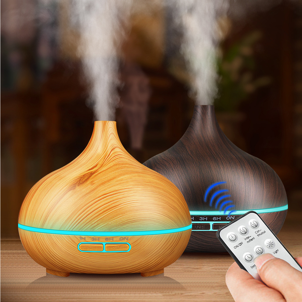 Amazon Hot Selling Remote Control Wood Grain Aroma Diffuser 400 Ml Wood Grain Household Colorful Essential Oil Fragrance Lamp Hu