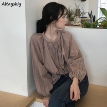 Camisetas combinables para mujer, blusa De moda BF informal De colores puros, Tops Harajuku De diseño coreano con manga abombada y abalorios