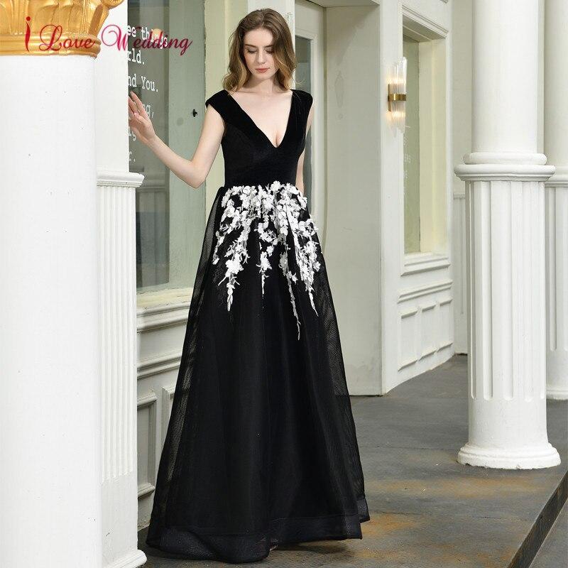 Robe de soirée 2020 Sexy col en V dentelle Applique noir Robe de soirée sans manches une ligne formelle longue robes de soirée