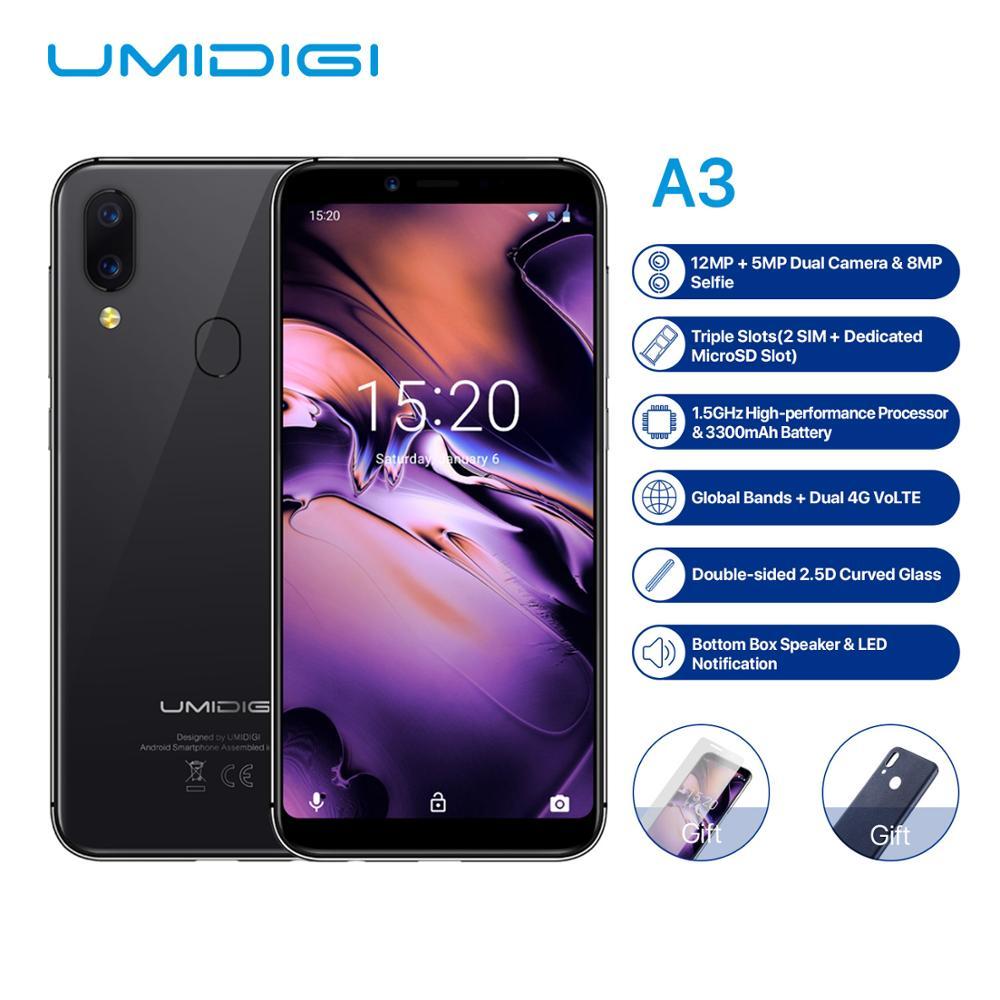 Original UMIDIGI A3 5.5''HD Android 8.1 2GB RAM 16GB ROM MT6739 Quad Core 12MP+5MP Dual Face Unlock 3300mAh 4G OTG Mobile Phone