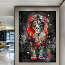 Abstract Colorful Lion Painting Modern Animal Wall Art Picture Cuadros for Artwork Canvas Poster Printed Graphic Home Decoration