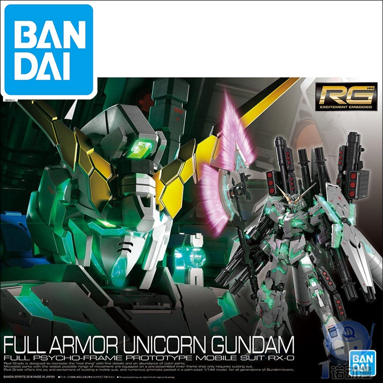 Original RG 1/144 Gundam Model RX-0 FULL ARMOR UNICORN GUNDAM Japanese Model  Bandai Mobile Suit Kids Toys