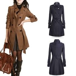 Mulheres outwear inverno quente lapela longo fino trench parka casaco casaco casaco camelo preto elegante femme senhoras de escritório casaco superior