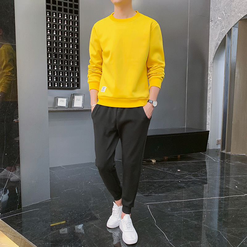 2020 New Style Autumn Clothing Korean-style Trend Loose-Fit Solid Color Long Sleeve Pullover Hoodie Suit Men's Sports Casual Two