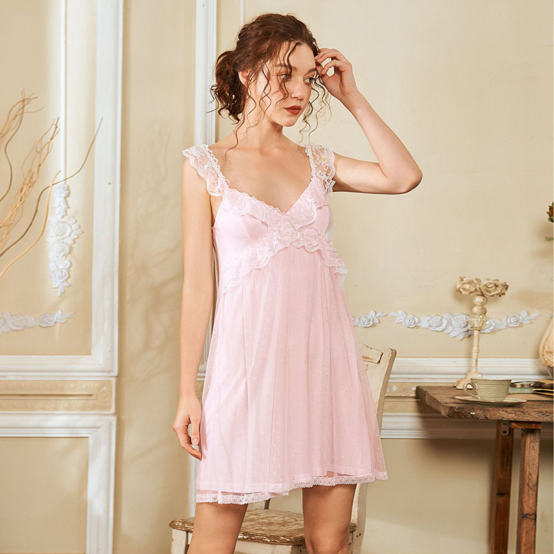 Wasteheart Women Fashion White Cotton Sexy Sleepwear Strap Nightdress Lace Nightwear   Sleepshirts     Nightgown   Sleepwear Homewear