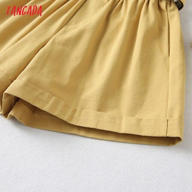 Tangada Women Elegant Solid High Waist Shorts with Belt Pockets Female Retro Basic Casual Shorts Pantalones YU24 4