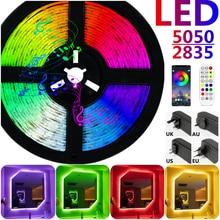 Luzes de tira led bluetooth rgb 5050 smd 2835 à prova dwaterproof água lâmpada fita flexível diodo luces led neon 5m 10m dc12v para a decoração do quarto wifi