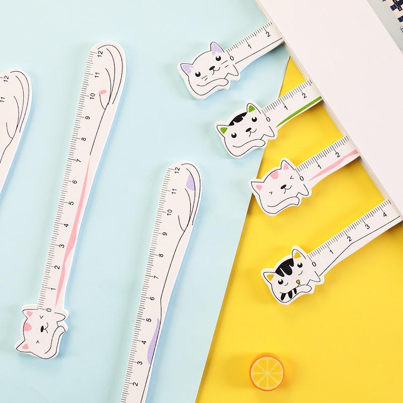 Cute Korean Creative Cartoon Cat Wooden Ruler Simple Kawaii Drawing Measuring Ruler Stationery School Office Supplies