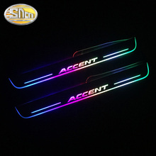 цена на SNCN Colorful Acrylic Moving LED Welcome Pedal Car Scuff Plate Pedal Door Sill Pathway Light For Hyundai Accent 2012 - 2018 2019