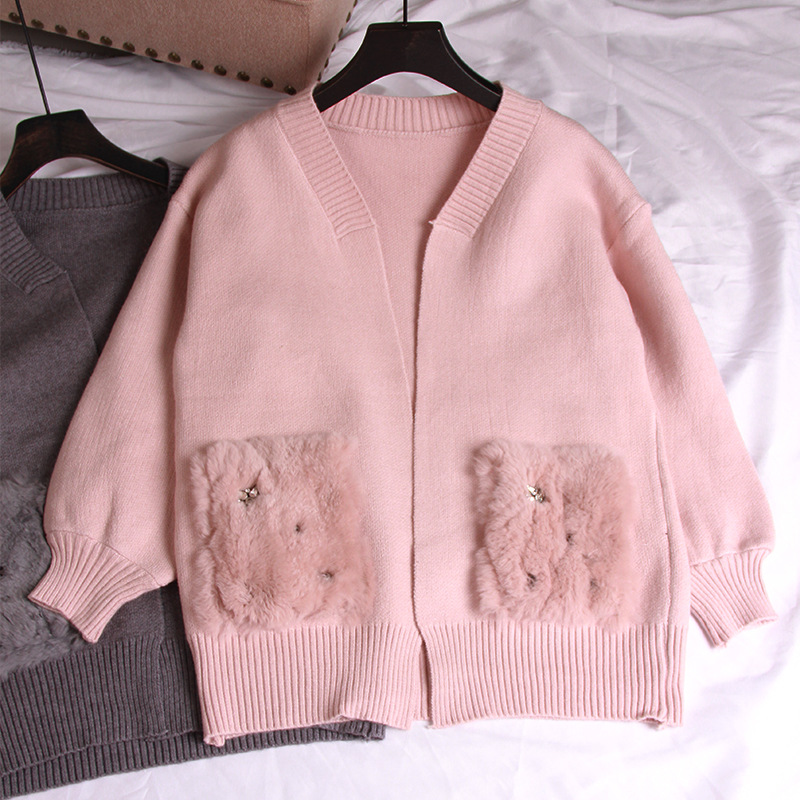 Fox Fur Pearls Pocket Cardigan Lantern Sleeve Knit Sweater Women Open Stitch Casual Sweters Women Invierno Loose Cardigan Mujer in Cardigans from Women 39 s Clothing