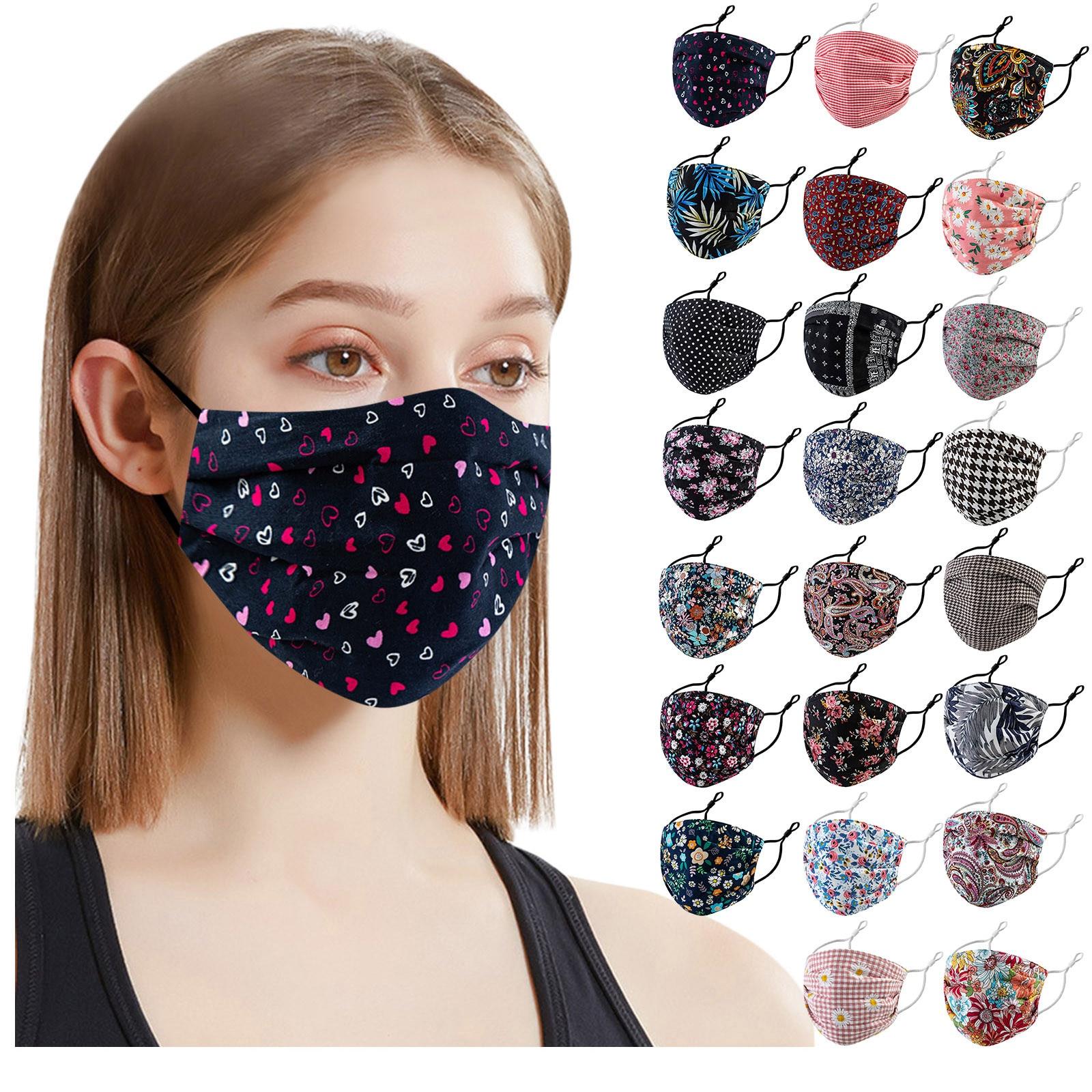 Взрослый многоразовые маски женские Цветочный принт уход за кожей лица маска моющиеся маска для лица ткани рот шапки маски с цветами унисек...
