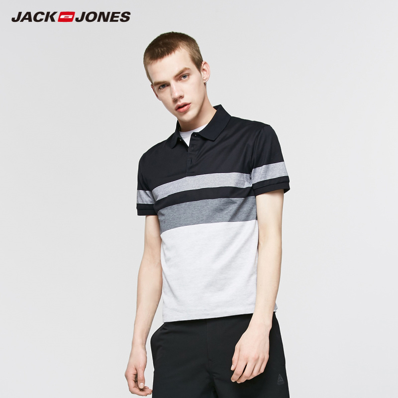 JackJones Men's Spring Casual 100% Cotton Striped Turn-down Collar Short-sleeved Polo-shirt Style| 219206514