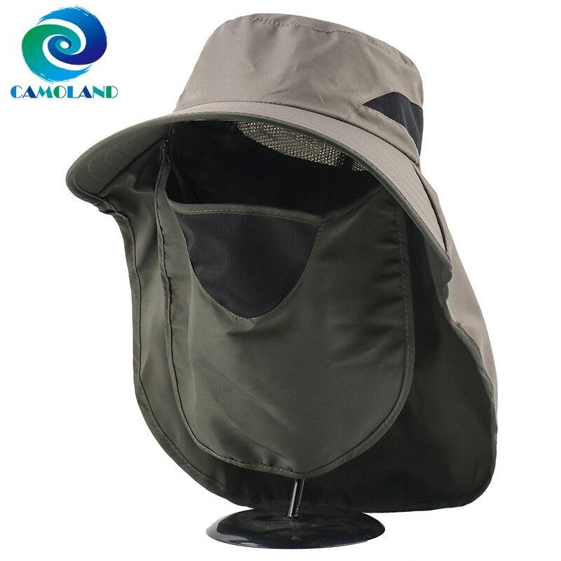 CAMOLAND 2 в 1 летние UPF 50 + солнцезащитные шапки, мужские уличные дышащие походные кепки для рыбалки с клапаном на шее, защита от УФ, Панама|Мужская панама|   | АлиЭкспресс