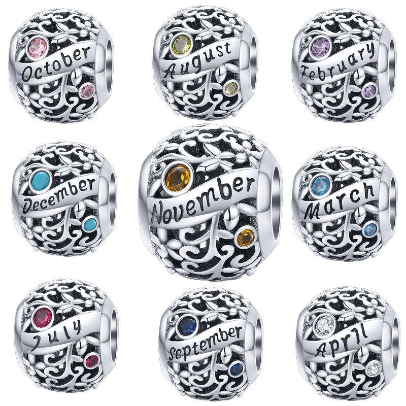 WOSTU 925 Sterling Silver Round Beads Zircon Birthstone 12 Month Charms Fit Original Bracelet Pendant Bead Jewelry Birthday Gift
