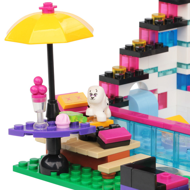 HUIQIBAO Pop Star Girl Livi's House Building Blocks Friends For Girls City Bricks set Educational Toys for children