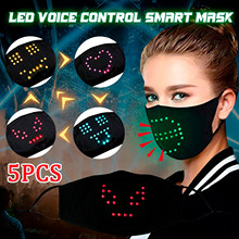 5Sets Mask Face Mask Strong Protective Mouth Mask Reusable LED Lighted Matrix Bluetooth App Controlled USB Rechargeable Battery