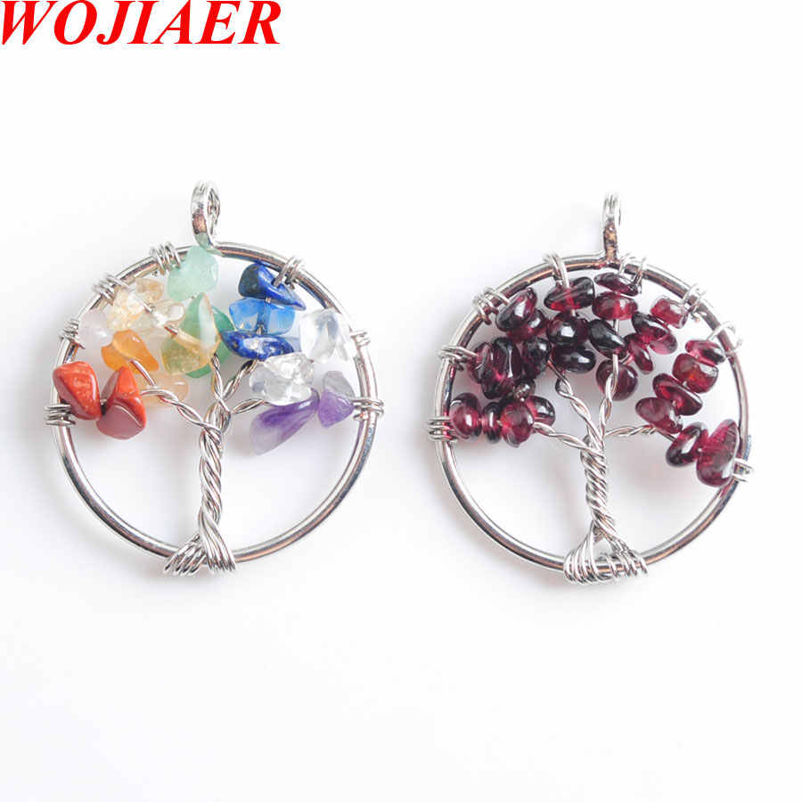 Tree of Life Pendant Natural Gem Stone Chip Beads 7 Chakra Wire Wrapped Women Jewelry WOJIAER PBN800
