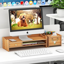 Monitor Stand For Computer & Laptop Screen Wood Riser Supports Heaviest Monitors Printers TV Perfect Shelf Organizer For Office