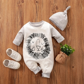 Newborn Baby Boy Clothes for 0 3 6 9 12 18 24 Months Lion 2Pcs New Born Infant Clothing Romper Long Sleeve Cartoon Onesie Outfit image