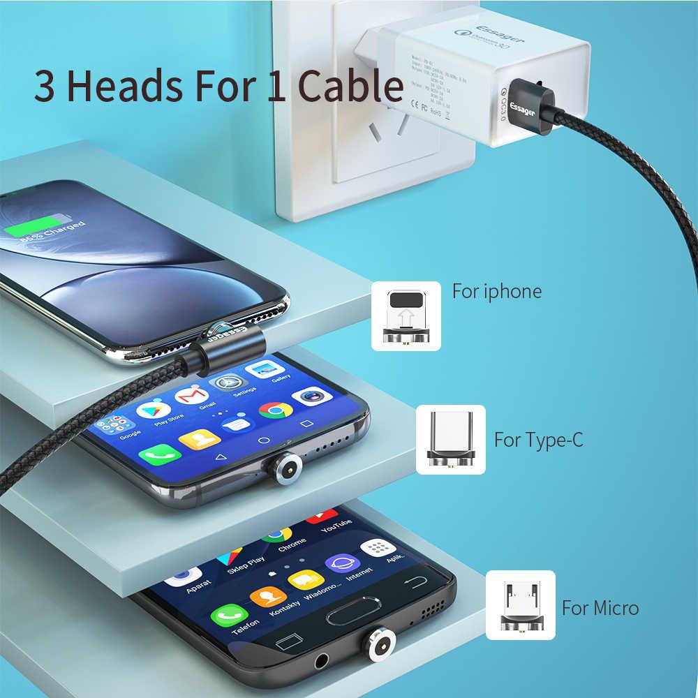 Essager câble magnétique mi cro USB type C adaptateur chargeur pour iPhone 11 XS Xiao mi mi 9 rouge mi câble charge rapide aimant téléphone cordon