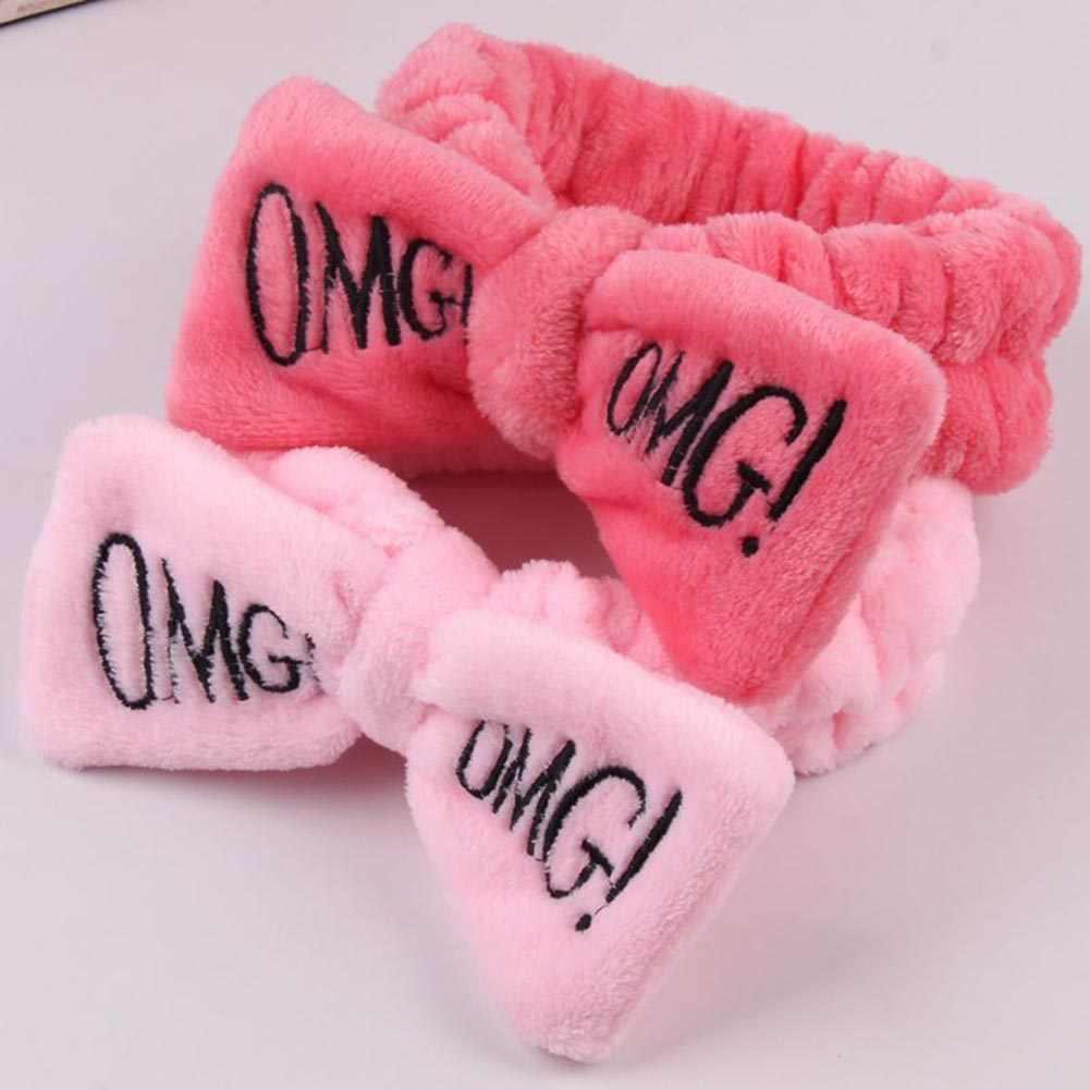 2020 ใหม่ OMG ตัวอักษร Coral Fleece Bow Hairbands สำหรับผู้หญิง Headbands Headwear Turban โบว์อุปกรณ์เสริมผม