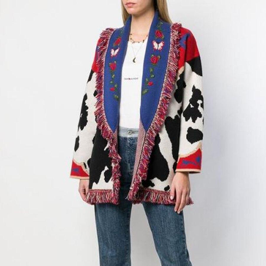 KIYUMI Urban Gypsy Sweater Cardigan 2019 Womens Tassel Long Cow Pattern Jacquard Boho Sleeve Warm