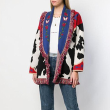 KIYUMI Urban Gypsy Sweater Cardigan 2019 Womens Tassel Long Cow Pattern Jacquard Boho Sleeve Warm