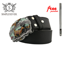 Silver Hunting Belt Buckle for Men Deer Metal Cowboy Cowgirl Jeans Accessories